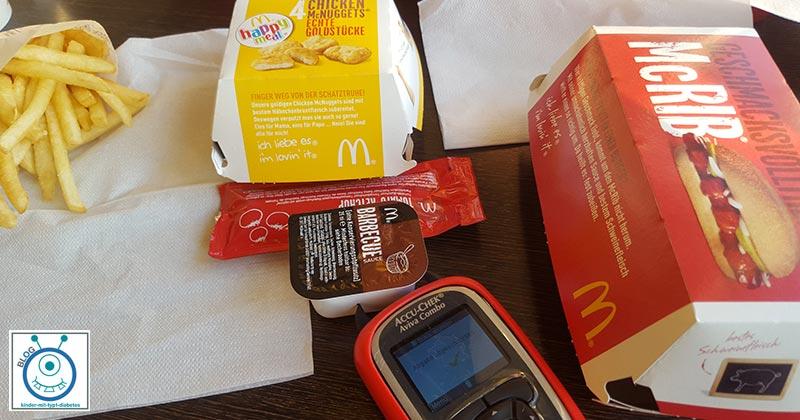 Kinder Diabetes Essen Fastfood Pommes Hamburger