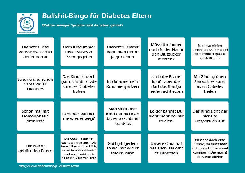 bullshit Bingo Diabetes Kids elternblog